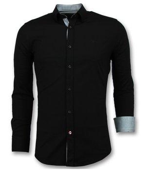 Gentile Bellini Blusa Italiana en Blanco Hombre - Men Camisas Entalladas - 3036 - Negro