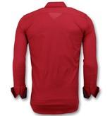 Gentile Bellini Camisas Blanco Para Hombres Italianos - Men Blusa Slim Fit - 3037 - Rojo