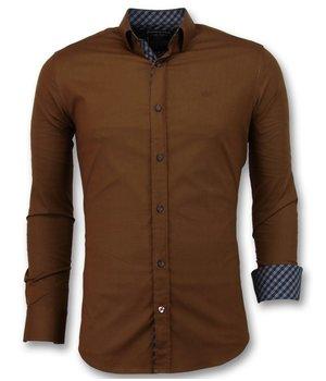 Gentile Bellini Camisas Italianas para hombres - Ajuste extra slim - 3038 - Marrón