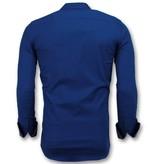 Gentile Bellini Camisas Slim Fit Para Hombre - Moda de Hombre Italiana - 3041 - Azul