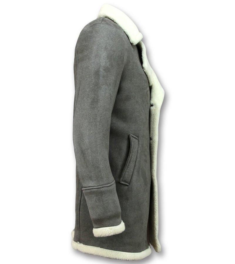 Frilivin Abrigo De Piel Artificial - Lammy Coat Long Hombre  - Gris