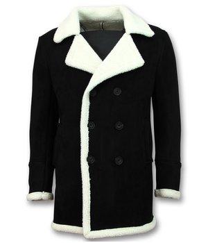 Frilivin Men Abrigo De Piel Artificial - Lammy Coat Long Hombre - Negro