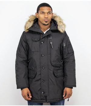 Just Key Parkas Hombre - Chaqueta de invierno Largo - Collar de piel sintética - Negro