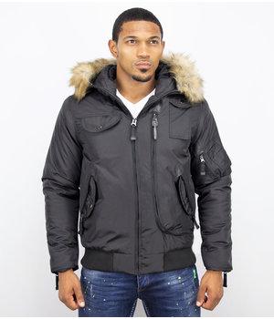 Just Key Parkas Hombre - Chaqueta de invierno corto - Collar de piel sintética - Negro