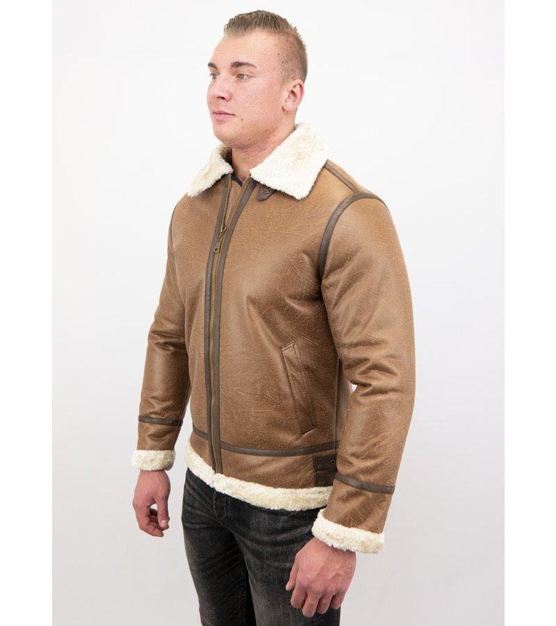 Tony Backer Men Shearling Jacket - Lammy Coat Hombre - Marrón