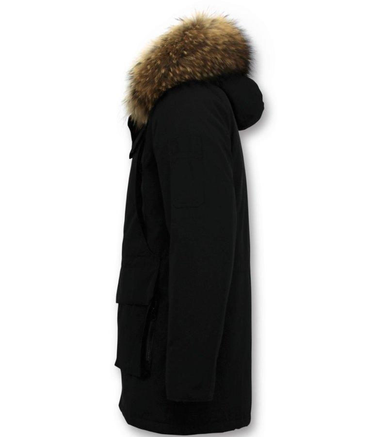 Enos  Parka Chaqueta de invierno - Cuello Grande De Piel Real - Negro