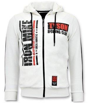 Local Fanatic Sudaderas con Cremallera - Tyson Boxing Iron Mike Chaqueta - Blanco