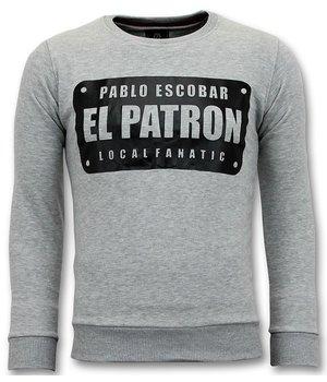 Local Fanatic Sudadera de Hombre - Pablo Escobar El Patron - Gris