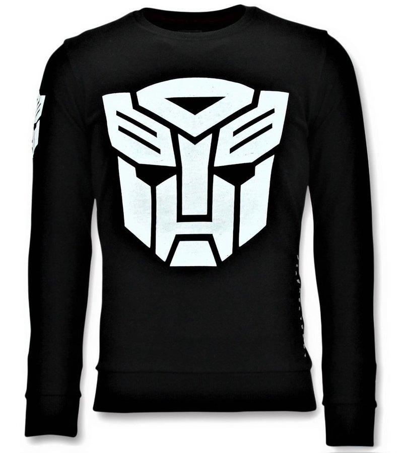 Local Fanatic Sudadera de Hombre -  Transformers Print - Negro