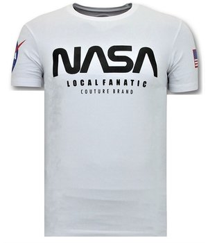 Local Fanatic Camiseta de Hombre - NASA American - Blanco