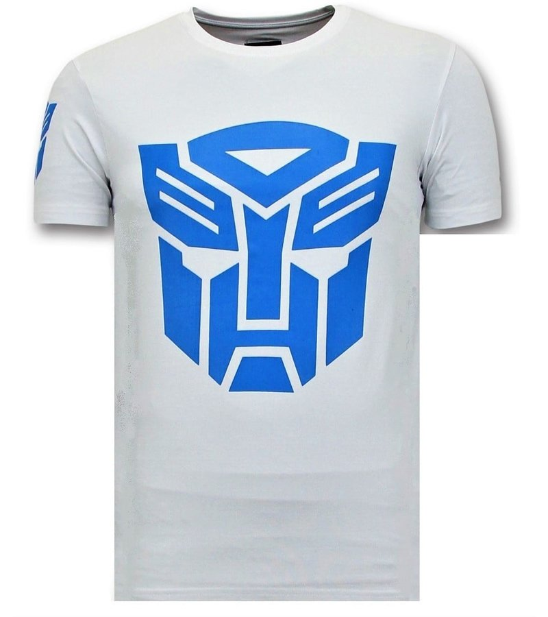Local Fanatic Camiseta de Hombre - Transformers Robots Print - Blanco