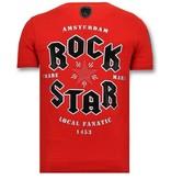 Local Fanatic Camiseta Piedras - Rock My World Cat - Rojo