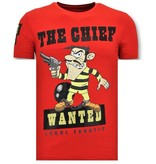 Local Fanatic Camiseta Piedras - The Chief Wanted - Rojo