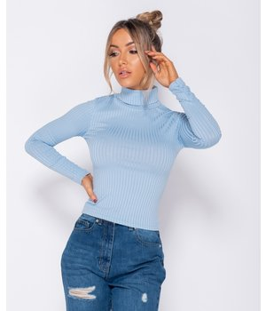 PARISIAN Costilla de punto Jersey de cuello de manga larga superior -las mujeres Top - azul
