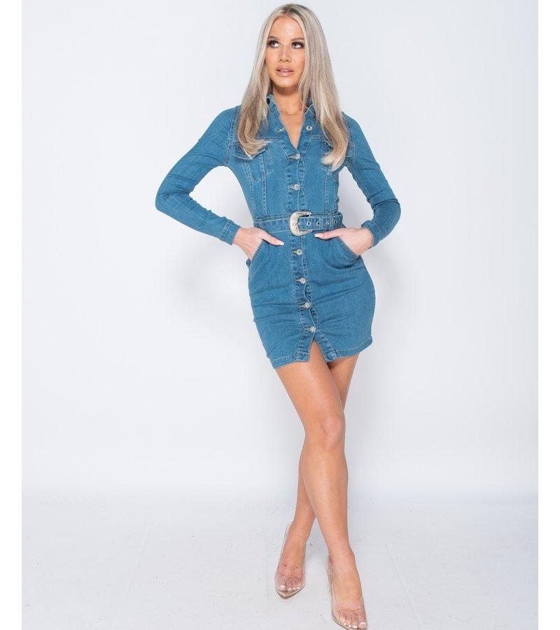 PARISIAN Botón Denim Western encima de la camisa vestido- ajustado de la Mujer - Azul