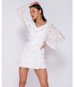 PARISIAN Detalle del volante Dobby mini vestido - Mujeres - Blanco