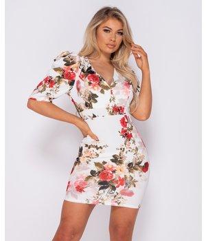 PARISIAN Abultada de la impresión floral de Bodycon del mini vestido - Mujeres - Blanco