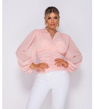 PARISIAN Fruncido detalle Wrap Frente Top - Mujeres - rosa