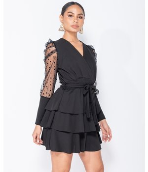 PARISIAN Lunares mangas de malla Wrap - Detalle gradas del mini vestido - Mujer - Negro