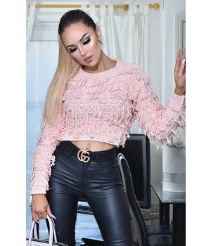 CATWALK Amapola Tassle de punto Jumper Top - Mujeres - rosa