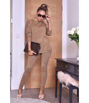 CATWALK Pixie gris de dos piezas Loungewear Set - Mujeres - Brown