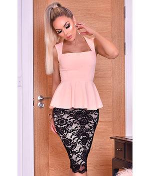 CATWALK Pamela contraste vestido de encaje Peplum - Mujeres - rosa