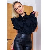CATWALK Annalise pussybow volante del volante Top - Mujer - Negro