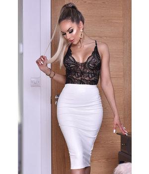 CATWALK Kellie PU falda de Midi - Mujeres - Blanco