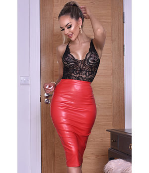 CATWALK Kellie PU falda de Midi - Mujer - Rojo
