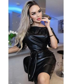 CATWALK Xandra de cuero con cinturón vestido de murciélago - Mujer - Negro