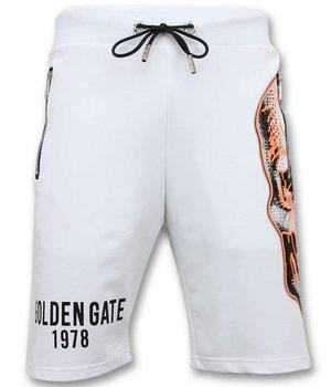 Enos Pantalones de chándal de los hombres cortos - Cráneo -7357 - Blanco