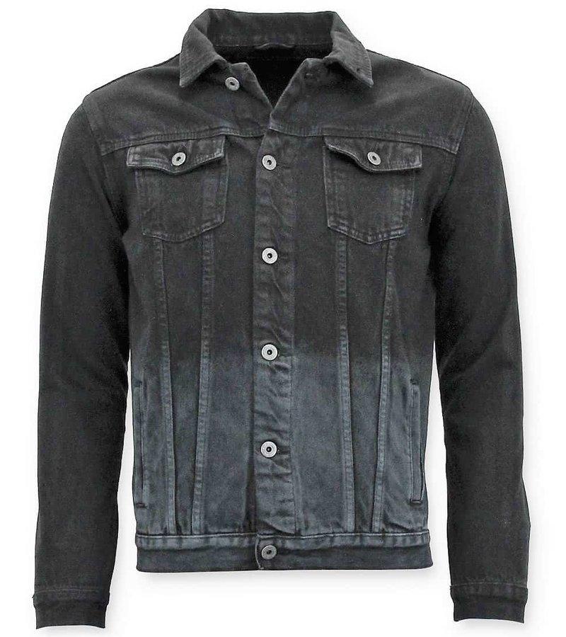 Enos Mezclilla hombres de la chaqueta de mezclilla - Blanco - Negro