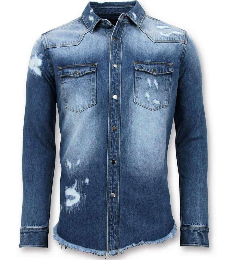 Enos Larga Camisa vaquera - Hombre de Blusas Jeans - azul