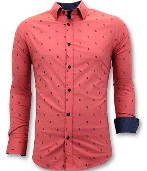 Tony Backer Exclusivo Italiano Blusa de Los Hombres - Slim Fit - 3046 - Rojo