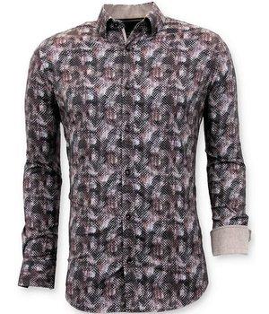 Tony Backer Los Hombres de Lujo de La Blusa Slim Fit - Impresión Digital - 3060 - Marrón