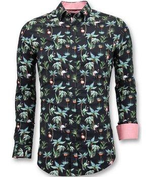 Tony Backer Lujo Informal Camisas Hombres - Floral Digital de Impresión - 3056 - Negro