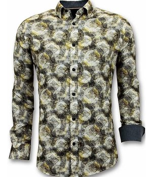 Tony Backer Camisas de Lujo Para Hombre - 3053 - Amarillo