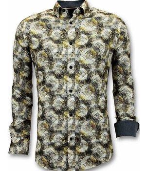 Tony Backer Camisas de Lujo Para Hombre - Impresión digital - 3053 - Amarillo