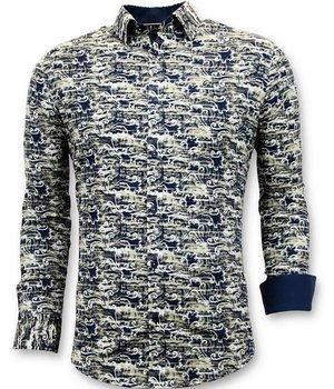 Tony Backer Diseño De Lujo Camisas De Los Hombres - Impresión Digital - 3043 - Azul