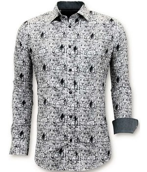 Tony Backer Camisas De Lujo De Estar Hombres Libres - Impresión Digital - 3051 - Blanco