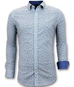 Tony Backer Camisa Hombre Estampado Bicicleta - Impresión Digital - 3061 - Blanco