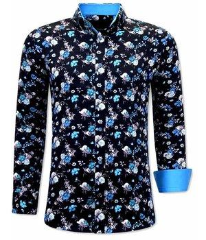 Gentile Bellini Camisas Con Flores Hombre - 3066 - Azul