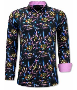 Gentile Bellini Camisa Floral Hombre - 3070 - Rosa / Negro