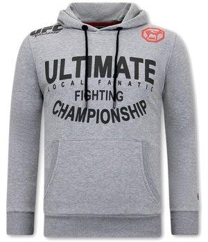 Local Fanatic Sudaderas Para Hombres UFC Ultimate Fighting -  Gris