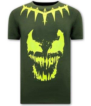 Local Fanatic Camisetas Hombre Calaveras Venom Face Neon  - Verde