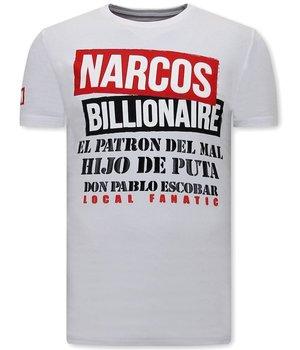 Local Fanatic CamisetasHombre Narcos Billionaire - Blanco