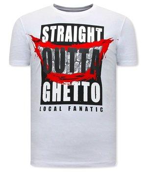Local Fanatic CamisetasHombre Straight Outta Ghetto - Blanco