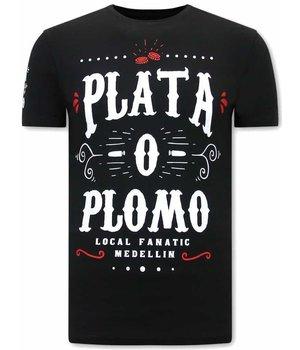 Local Fanatic CamisetasHombre Narcos Plata O Plomo - Negro