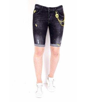 Local Fanatic Pantalones tejanos cortos hombre - 1022 - Negro