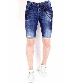 Local Fanatic Jeans corto con salpicaduras de pintura  - 1020 - Azul